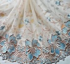 """1Yard~8""""~Venise Embroidered Lace Trim Tulle Flower Bridal Doll Dress Tan~Cyan"""
