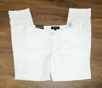 Banana Republic Womens Pants Size 8 NEW White Ryan Fit Cropped Zippers NWT