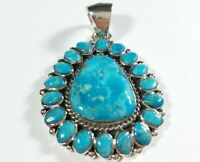 "925 STERLING SILVER FLOWER CLUSTER TURQUOISE 1 5/8"" x 1 1/8"" PENDANT"