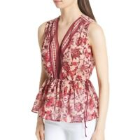 Kate Spade Paisley Blossom Floral Sleeveless Tunic Top Boho Red M UK 10 New £150