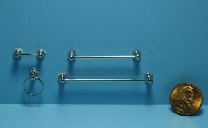 Dollhouse Miniature Bathroom Towel Bar Set with Toilet Paper Holder Silver T8463