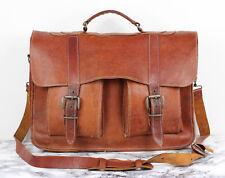 Vintage effet vieilli marron clair cuir épais École Sacoche Sac Bandoulière Ordinateur Portable A4