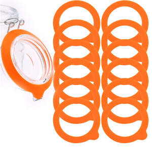 12 Pack Silicone Gasket Airtight Rubber Seals Rings For Mason Jar Orange Lids