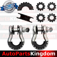"""1 Pair 3/4"""" Silver 4.75 ton D-ring Shackle+BLK Isolator Washers Silencer Clevis"""