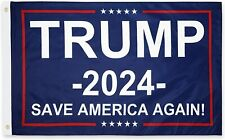 PringCor 3x5Ft 2024 Donald Trump Save America Again Flag Blue Maga Patriot Usa