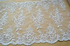 """Embroidered Tulle Lace Trim 17"""" Wide Ivory Wedding Flower Lace Fabric 1 Yard"""