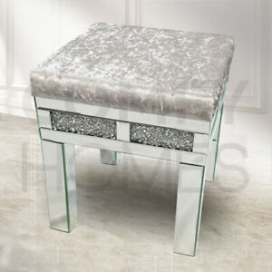 Crushed Crystal Mirrored Velvet Dressing Table LARGE Stool - FREE DELIVERY !