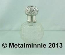 ANTIQUE EDWARDIAN SILVER TOPPED & COLLARED GLOBULAR SCENT PERFUME BOTTLE