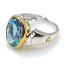 De Buman Two-tone Sterling Silver 7.57ctw Swiss Blue Topaz Ring, Size 7