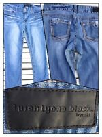 Twentyone Black Rue 21 Women's 11/12R Low Rise Skinny Jeans Whiskered Blue Denim