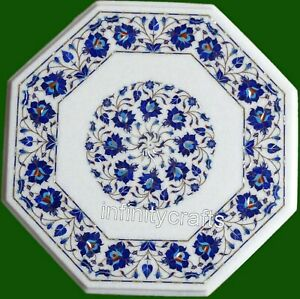 Marble Coffee Table Top Inlay Lapis Lazuli Gemstones Sofa Table for Home 24 Inch