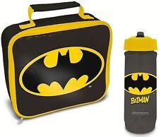 BATMAN LOGO CHILDS SCHOOL KIDS INSULATED WIPE CLEAN LUNCH BAG BOTTLE SET