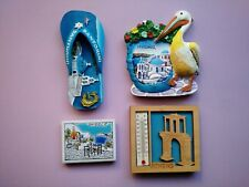 New Set of 4 Greek Refrigerator Magnets From Greece (Athens, Santorini, Mykonos)