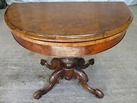 19th Century Burr Walnut demi-lune oval fold over card / games table (ref 304)