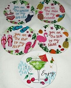 """TROPICAL MELAMINE APPETIZER PLATE'S 6"""" Dia. [Set of 4 ] Your Choice of Theme"""