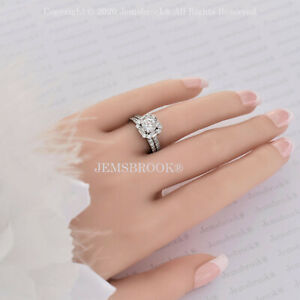 1ct Diamant Verlobungsring Halo ebnen Akzent Sterling Silber Platin Finish