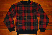Vintage Men's Structure Red Check Plaid Wool Sweater (Small)
