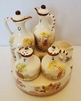VTG Japan/China? Painted Ceramic 5 Pc Condiment Cruet Set Landscape/House Brown
