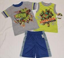 BOYS 4 Teenage Mutant Ninja Turtles 3-piece outfit (tank t-shirt shorts) NWT