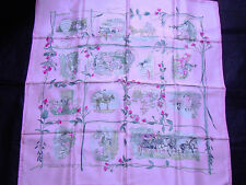 """Hermes scarf CARRE """"La Comtesse de Segur"""" light pink"""