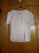Ladies Pink TWEEDS Short Sleeve Satin Silk Blend T-Shirt/Top/Blouse Size M