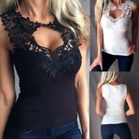 Plus Size Women's Lace Collar Tank Top Hollow-out Slim Fit Shirt Sleeveless Tops