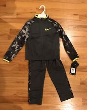 Nike Boy Track Suit 2 Piece Outfit Set Gray Green Jacket Top Pants Size 4 $48