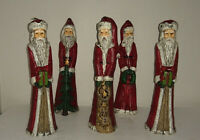 Vintage Set (5) Old World Santa Taper Candles 8 Inch Fine Wax Detail Christmas