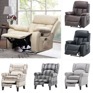 Upholstered Recliner Armchair Heated Massage Reclining Chair Snooze Lounger Bed