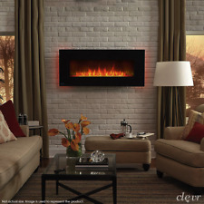 "Clevr 39"" Wall Mount Adjustable Electric Fireplace Heater w/ Backlight & Remote"