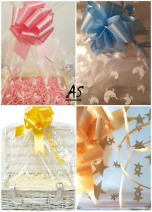 XX LARGE CLEAR HAMPER Display BAGS & BOWS Cellophane Gift Wrap DIY FATHER'S DAY,