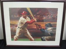 STAN THE MAN MUSIAL  AUTOGRAPHED NUMBERED S I LITHOGRAPH WOOD FRAMED & MATTED