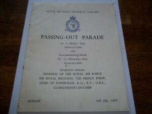 ROYAL AIR FORCE TECH COLLEGE PASSING OUT PARADE PROGRAMME. HENLOW 17TH JULY 1962