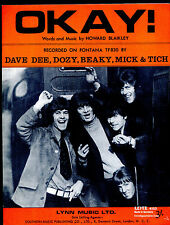 Dave Dee, Dozy, Beaky, Mich & Tich : Okay ! : original UK 1960's Sheet Music
