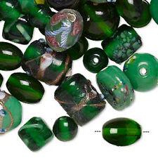 Glass Beads Green Lampwork Mix Handmade Fancy Jewelry Lot of 70+