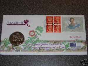 1996 £5 FIVE POUND COIN MINT QUEEN 70TH BIRTHDAY FDC