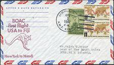 US Lettre 1er vol 1667 Etats Unis Jamaica NY pour Nandi Fiji, First Flight Cover