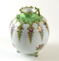 Vintage Round Spherical Ball Floral & Green Vase w/Gold Trim, Broken/Repaired