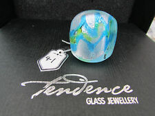 A BIG CHUNKY BLUE WITH SILVER & GREEN TENDENCE GLASS RING.  UK..R  US..8.5 (30).
