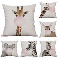 Cute Animal 18inch Cotton Linen Sofa Waist Cushion Cover Pillow Case Home Decor