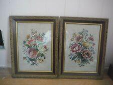 2 Vintage Tapestry Art Wall Hangings Wood Frame Gold Trim Garden Flowers