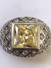 Sterling Silver Dome Ring Size 8 Square Yellow Cubic Zirconia With Tiny Czs