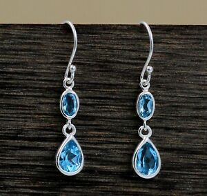 Solid 925 Sterling Silver Blue Topaz Gemstone New Year Gift Earring Jewelry