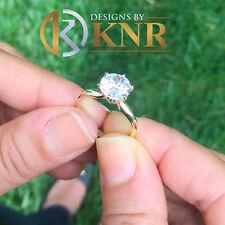 Moissanite Engagement Ring Solitaire 4.50 18K White Gold Round Forever One