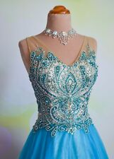 NWT AQUA NUDE TERANI BALL GOWN HOMECOMING PAGEANT PROM QUINCE GOWN DRESS 10