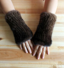 On Sale Women's Winter Real Mink Fur HandKnitting Long Fingerless Gloves Mittens