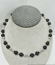 Vintage Sterling Silver 10mm Onyx Tiffany & Co Beaded Ladies Necklace 22in 49.3g