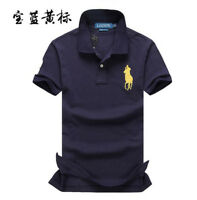 Mens Embroidered Polo T Shirts Lapel Short Sleeve Summer Fashion Horse Tops
