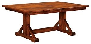 """Amish Rustic Plank Trestle Dining Table Rectangle Solid Wood Chesapeake 42""""x72"""""""