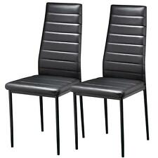 2PCS Faux Leather Dining Chairs Metal Chairs Home & Commercial Restaurants Black
